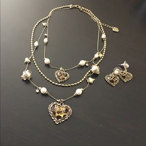 Betsey Johnson Layered Necklace and Earrings Set